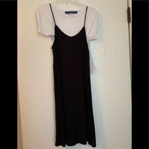 White t-shirt and black dress combo